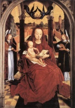 Hans Memling - Bilder Gemälde - Virgin and Child Enthroned with two Musical Angels
