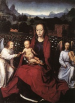 Hans Memling - Bilder Gemälde - Virgin and Child in a Rose Garden with Two Angels