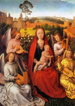 Hans Memling - Bilder Gemälde - Virgin and Child with Musican Angels