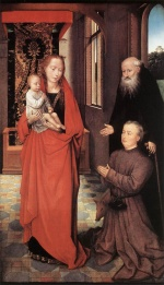 Hans Memling - Bilder Gemälde - Virgin and Child with Saint Anthony the Abbot and a Donor