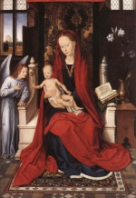Hans Memling - Bilder Gemälde - Virgin Enthroned with Child and Angel