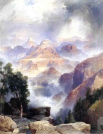 Thomas Moran - Bilder Gemälde - A Showrey Day Grand Canyon