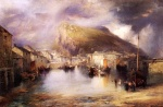 Thomas Moran - Bilder Gemälde - Ein englisches Fischerdorf (An English Fishing Village Polperro Cornwall)