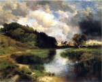 Thomas Moran - Bilder Gemälde - Cloudy Day at Amagansett