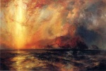 Thomas Moran - Bilder Gemälde - Fiercely the Red Sun Descending Burned his Way across the Heavens
