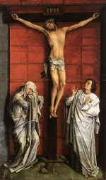 Rogier van der Weyden - Bilder Gemälde - Christ on the Cross with Mary and St. John