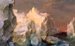Frederic Edwin Church - Bilder Gemälde - Icebergs and Wreck in Sunset