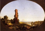 Frederic Edwin Church - Bilder Gemälde - New England Landscape with Ruined Chimney