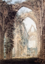 Thomas Girtin - Bilder Gemälde - Interior of Tintern Abbey looking toward the West Window