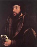 Hans Holbein - Bilder Gemälde - Portrait of a Man Holding Gloves and Letter