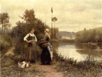 Daniel Ridgway Knight - paintings - A Conversation