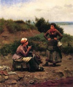 Daniel Ridgway Knight - paintings - A Discussion Between Two Young Ladies