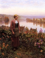 Daniel Ridgway Knight - paintings - A Garden above the Seine Rolleboise