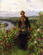 Daniel Ridgway Knight - paintings - A Maid in her Garden