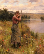 Daniel Ridgway Knight - paintings - A Moment of Rest