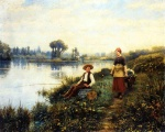 Daniel Ridgway Knight - paintings - A Passing Conversation