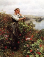 Daniel Ridgway Knight - paintings - A Pensive Moment