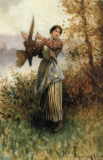 Daniel Ridgway Knight - paintings - A Pheasant in Hand