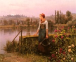 Daniel Ridgway Knight - paintings - A Women with a Watering Can by the River