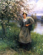 Daniel Ridgway Knight - paintings - Apple Blossoms in Normandy