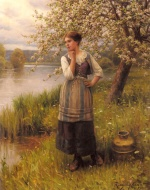 Daniel Ridgway Knight - paintings - The Apple Tree