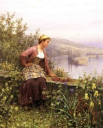 Daniel Ridgway Knight - paintings - Brittany Girl Overlooking Stream