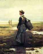 Daniel Ridgway Knight - paintings - Clamming