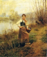 Daniel Ridgway Knight - paintings - Country Girl
