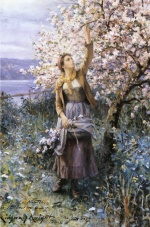 Daniel Ridgway Knight - paintings - Gathering Apple Blossoms