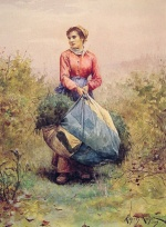 Daniel Ridgway Knight - paintings - Gathering Leaves