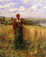 Daniel Ridgway Knight - paintings - Gathering Wheat