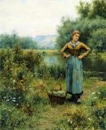 Daniel Ridgway Knight - paintings - Girl in a Landscape
