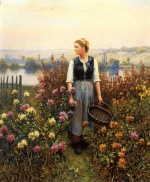 Daniel Ridgway Knight - paintings - Girl with Basket in a Garden
