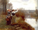 Daniel Ridgway Knight - paintings - Hailing the Ferryman