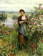 Daniel Ridgway Knight - paintings - Julia among the Roses