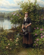 Daniel Ridgway Knight - paintings - Watering the Garden