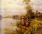 Daniel Ridgway Knight - paintings - Women fishing on a Summer Afternoon