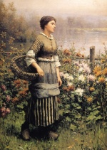 Daniel Ridgway Knight - paintings - Maid among the Flowers