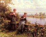 Daniel Ridgway Knight - paintings - Maria and Magdeleine Fishing
