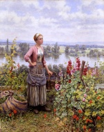 Daniel Ridgway Knight  - Bilder Gemälde - Maria on the Terrace with a Bundle of Grass