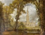John Constable - paintings - Salisbury Cathedral from the Bishops' Grounds