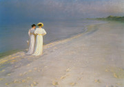 Peder Severin Kroyer  - Bilder Gemälde - Summer Evening on the Skagen Southern Beach with Anna Ancher and Marie Kroyer