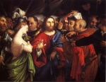 Lorenzo Lotto - Bilder Gemälde - Christ and the Adulteress