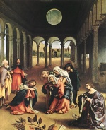 Lorenzo Lotto - Bilder Gemälde - Christ taking leave of his Mother