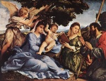 Lorenzo Lotto - Bilder Gemälde - Madonna and Child with Saints and an Angel