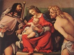 Lorenzo Lotto - Bilder Gemälde - Madonna with the Child and St. Rock and Sebastian