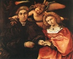 Lorenzo Lotto - Bilder Gemälde - Messer Marsilio and his Wife