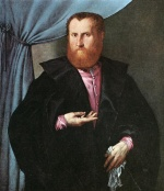 Lorenzo Lotto - Bilder Gemälde - Portrait of a Man in Black Silk Cloak