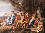 Nicolas Poussin - Bilder Gemälde - Bacchanal before the Statue of Pan