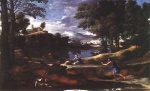 Nicolas Poussin - Bilder Gemälde - Landscape with Man killed by Snake